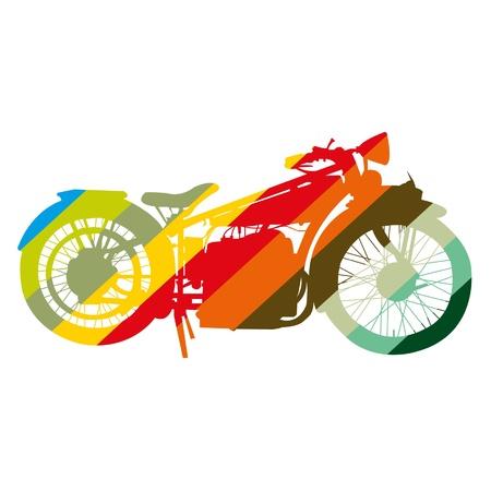 Motorcycle Vintage moto arte colorido Vectores
