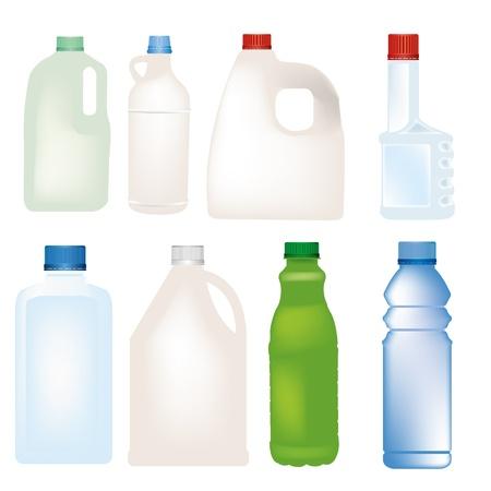 プラスチック ボトル セット  イラスト・ベクター素材