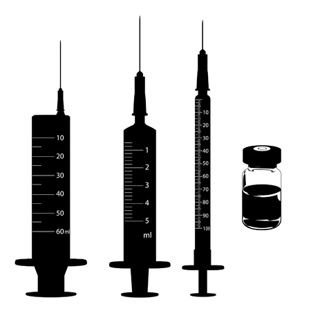 surgical needle: syringe and medicine vials Illustration