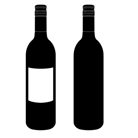 green glass bottle: wine bottles Illustration