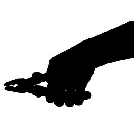pliers: hand hold Pliers silhouette