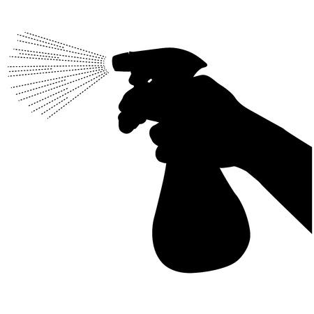 disinfectant: Spray bottle silhouette Illustration