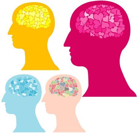 coraz�n y cerebro: cerebro coraz�n Vectores