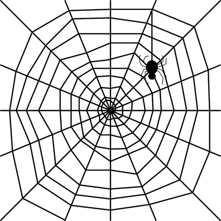 cobweb with spider silhouette