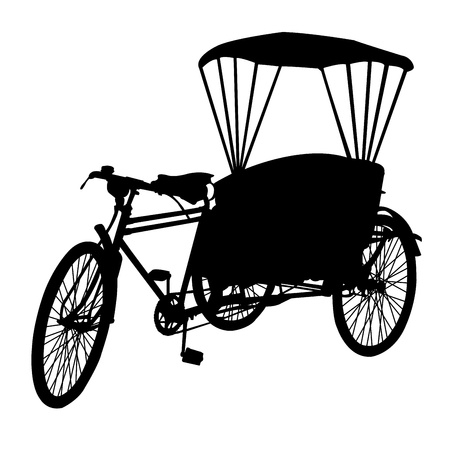 three wheel bicycle taxi  silhouette Stock Vector - 19604276