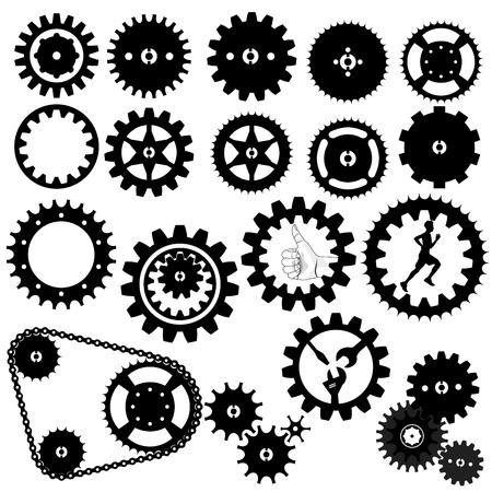 歯車のシルエットのベクター  イラスト・ベクター素材