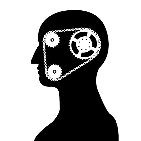 gear   chain brain silhouette vector Vector
