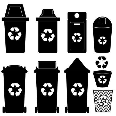 papelera de reciclaje: Papelera de reciclaje vector silueta
