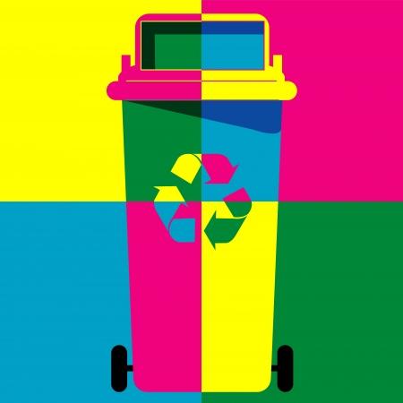 papelera de reciclaje: Papelera de reciclaje vector art colores