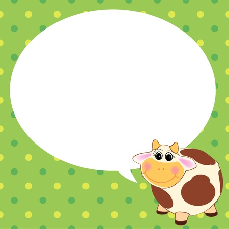 cute cow with speech bubble green background Vector