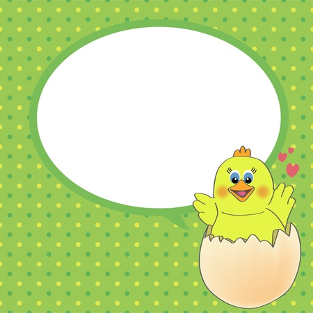 pecker: chicken with speech bubble Illustration