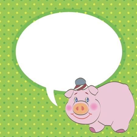 pig with speech bubble vector Vector