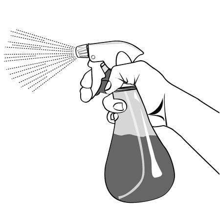 スプレー ボトルの輪郭線の特徴を持っている手します。