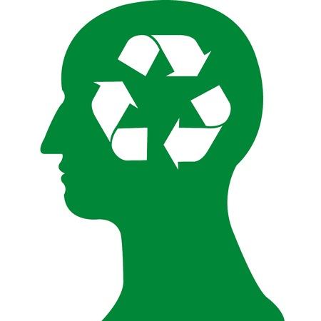 recycle symbol in green head vector Stock Vector - 20483088