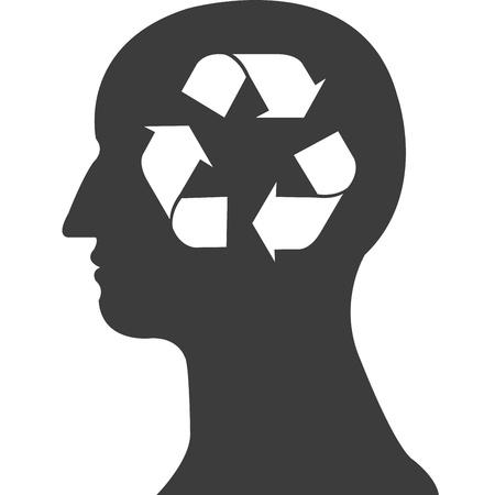 recycle symbol in grey head vector Stock Vector - 20483087