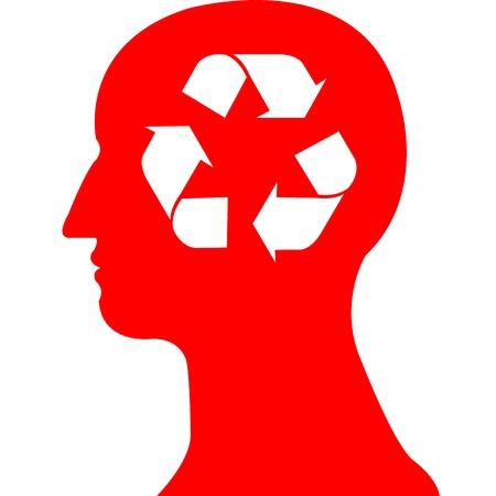 recycle symbol in red head vector Stock Vector - 20483089