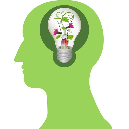 flower light bulb in brain vector Stock Vector - 20483101