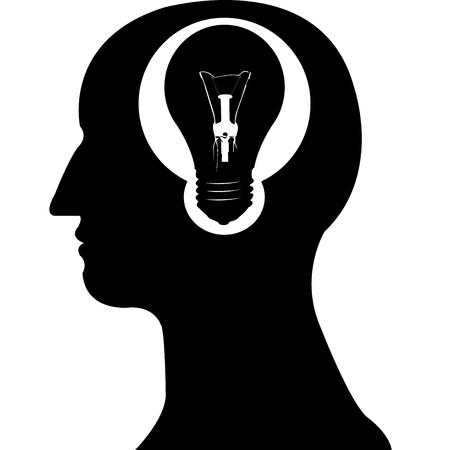 light bulb in brain  silhouette vector Stock Vector - 20483091