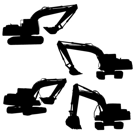 backhoe silhouette vector Stock Vector - 20707867