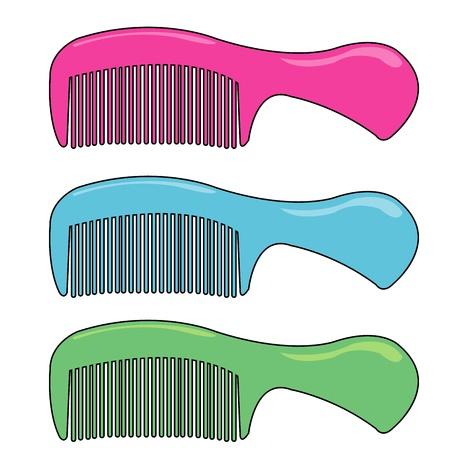 long handled: three comb vector Illustration