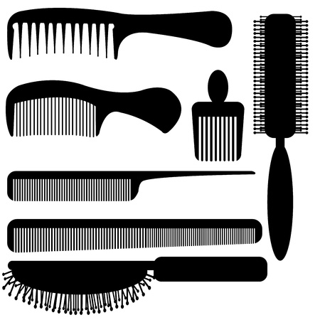 long handled: comb silhouette  vector Illustration