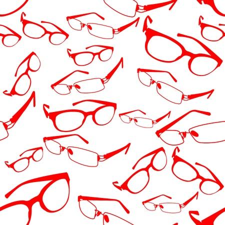 eyewear fashion: Seamless Red Spectacle Pattern