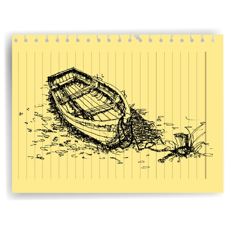 sketch drawing boat  on lined  paper page