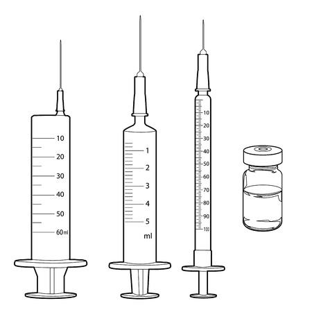 syringe and medicine vials outline