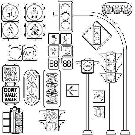 traffic signal: Sem�foro esbozo Vectores