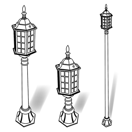metal post: street lamp outline vector