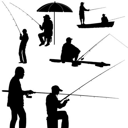 fishing man silhouette vector Vector