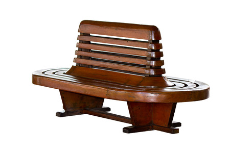 front stoop: antique public wood chair Stock Photo