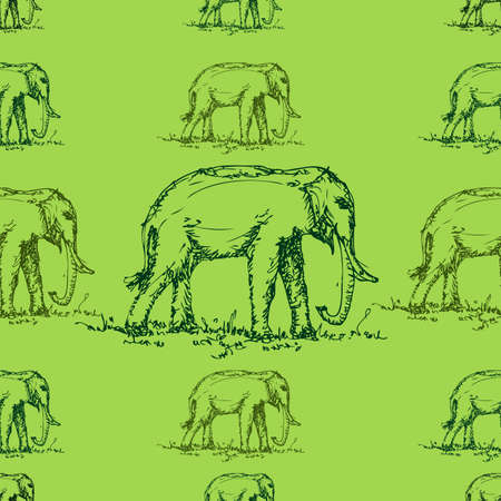 green tone: seamless green tone elephant pattern   Illustration
