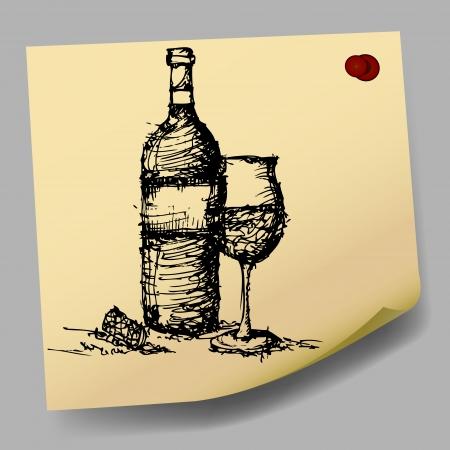 sticky paper:  sketch drawing of wine on sticky  paper  Illustration
