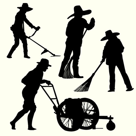 hedge clippers: Silhouette of people gardening Illustration