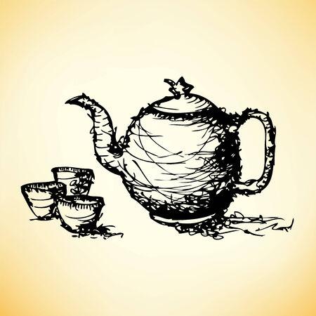 chinese tea cup: dibujo boceto de la tetera con la taza vector Vectores