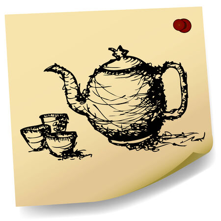 sketch teapot with cup  on sticky  paper  Vector