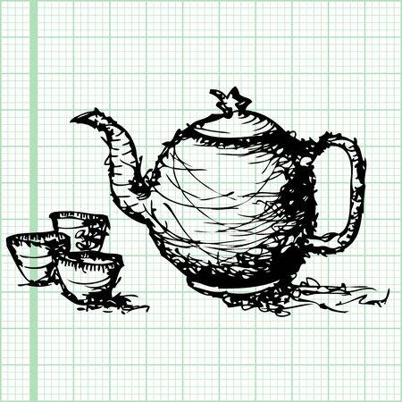 chinese tea cup: dibujo boceto de la tetera con la taza vector papel cuadriculado