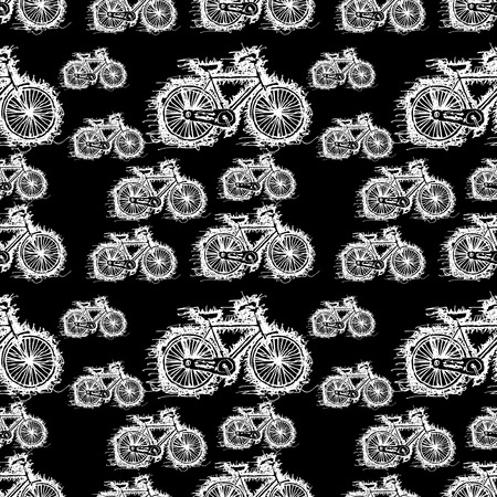 cruiser bike: seamless pattern of sketch white bicycle vector Illustration