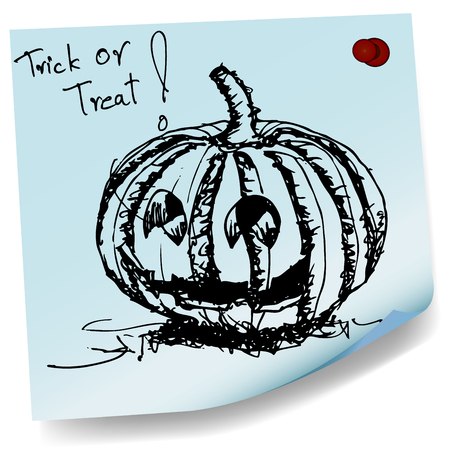 halloween pumpkin sketch on sticky  paper vector Vector