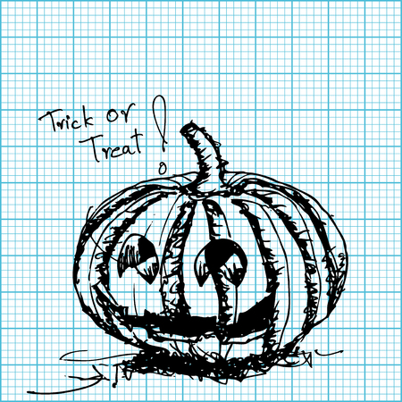 hoja cuadriculada: bosquejo calabaza de Halloween sobre vector papel cuadriculado