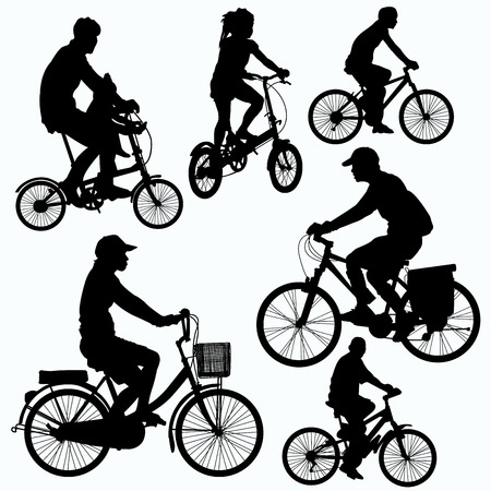 mtb: Bicycle Ride Silhouettes vector Illustration