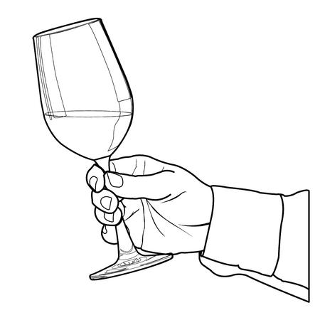 back lit: Mano que sostiene la copa de vino del vector esquema