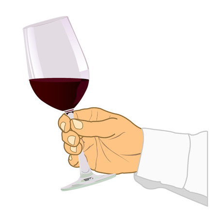 back lit: Hand holding glass of wine Vector