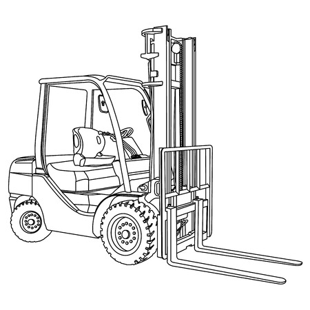 lift trucks: Forklift outline vector