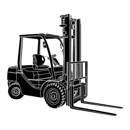 forklift: Forklift silhouette vector Illustration
