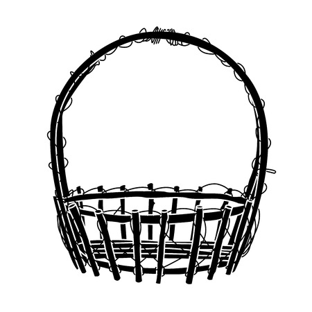 Wicker Basket  silhouette Vector Vector