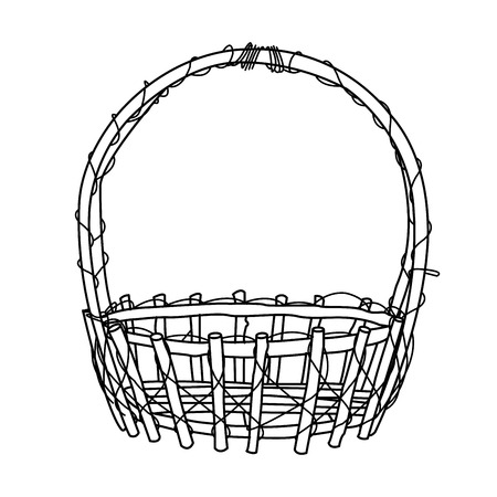 Wicker Basket outline Vector Illustration