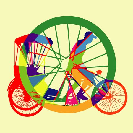 colorful Bicycle Taxi Silhouette Vector Vector
