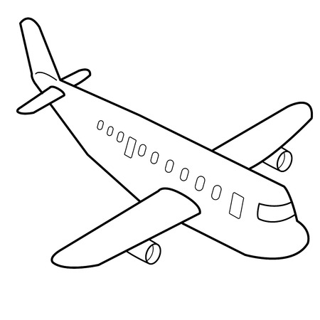 Airplane cartoon outline vector Vector
